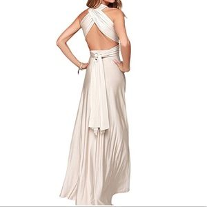 Dresses & Skirts - Cream Convertible Wrap Long Maxi Dress